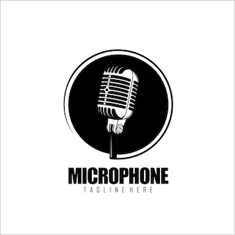 Mikrofon logo vorlage schwarz und weiß