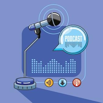 Mikrofon mit geräten des digitalen audiostudios