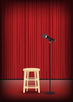Mikrofon mit rundem stuhl auf bühnenshow