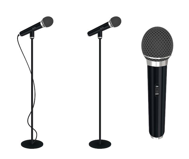 Mikrofon mit standvektor auf weißem hintergrund