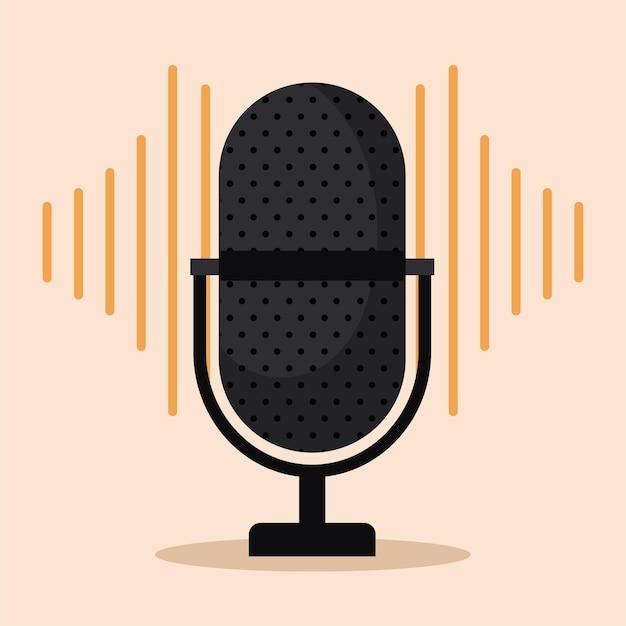 Mikrofon über einem orangefarbenen hintergrund