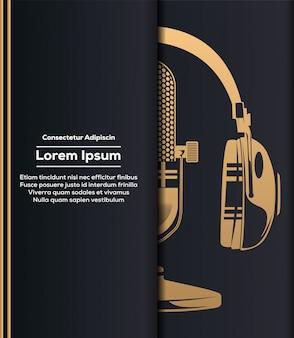 Mikrofon und kopfhörer in gold