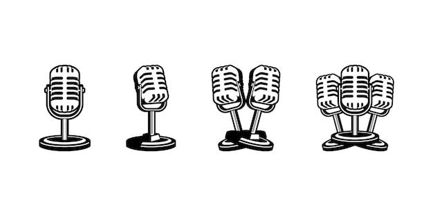 Mikrofon-vektor-illustration im retro-stil design für podcast-karaoke-logo-label-emblem-zeichen