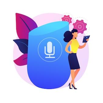 Mikrofonaufnahme. mit stimme authentifizieren. anruf empfangen, voip abspielen, audio senden. stabiles und nicht schwankendes geräusch. übertragener kontakt. isolierte konzeptmetapherillustration.