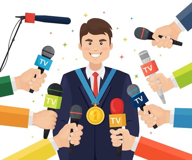 Mikrofone in händen von reportern auf pressekonferenz oder interview für gewinner
