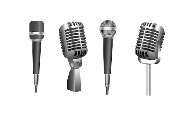 Mikrofone musikstudio verschiedene ausrüstung mikrofon vektor realistische fotografien von vintage ...