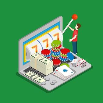 Mikroleute und riesiger laptop-computer drehen das rad jackpot-würfel geldspielkonzept