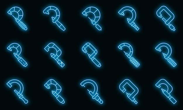 Mikrometer-symbole gesetzt. umrisse von mikrometer-vektorsymbolen neonfarbe auf schwarz