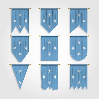 Mikronesien flagge in verschiedenen formen, flagge von mikronesien in verschiedenen formen