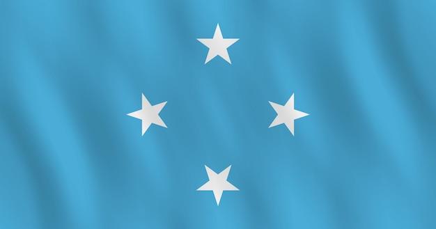 Mikronesien-flagge mit wehender wirkung, offizielle proportion.