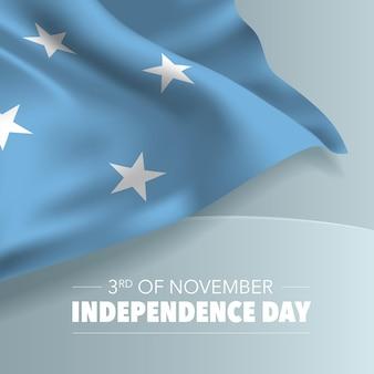 Mikronesien-unabhängigkeitstag-grußkarte, banner, vektorillustration. mikronesischer nationalfeiertag 3. november hintergrund mit elementen der flagge, quadratisches format