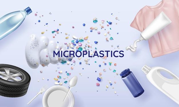Mikroplastischer hintergrund mit winzigen farbigen partikeln, verpackungen, wannen, reifen. realistische illustration