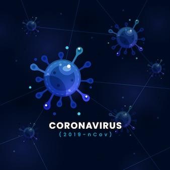 Mikroskopische vektorillustration des coronavirus covid-19-infektionskonzepts mit dunkelblauem modernem futuristischem hintergrund