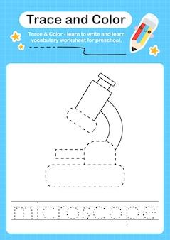 Mikroskopspur und farbvorschularbeitsblattspur für kinder zum üben der feinmotorik