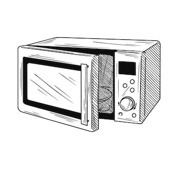 Mikrowellenherd auf weißem hintergrund. illustration eines skizzenstils.