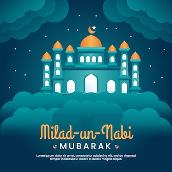 Milad un nabi mubarak festivalgruß mit moschee und himmelshintergrund