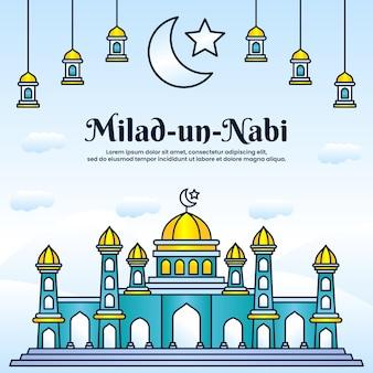 Milad un nabi mubarak festivalgruß mit moscheenhintergrund