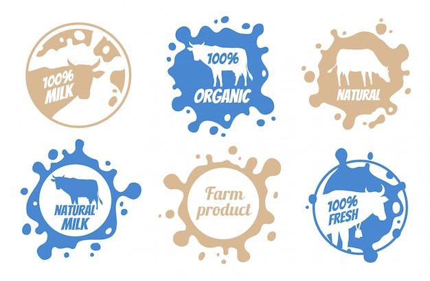 Milch-abzeichen mit nutztieren gesetzt