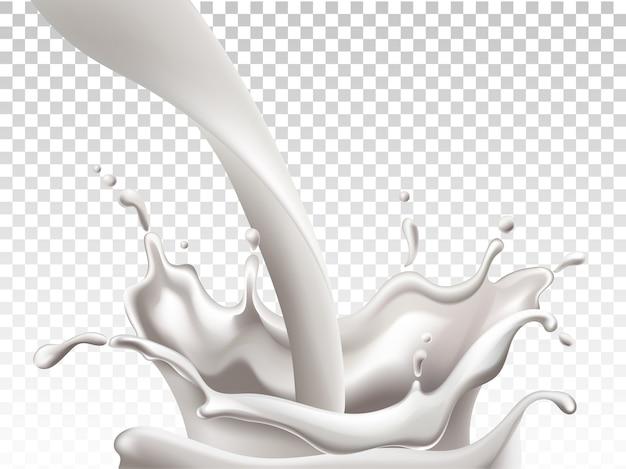 Milch fließt herunter und macht große spritzer