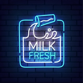 Milch leuchtreklame. milchfrisches logo neon Premium Vektoren
