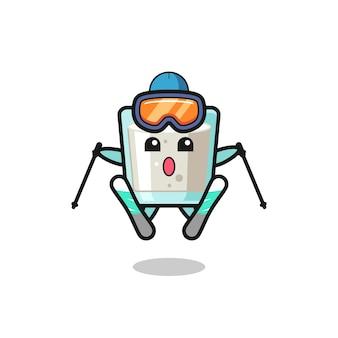 Milch-maskottchen-charakter als skispieler, süßes design für t-shirt, aufkleber, logo-element