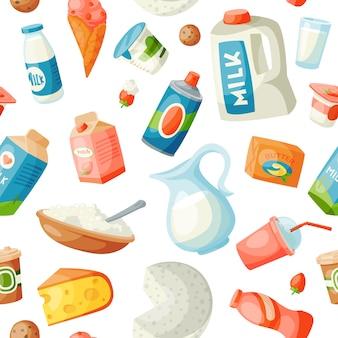 Milch milchprodukte in flachen stil milchigen frühstück gourmet bio-mahlzeit frische diät lebensmittel milchige getränk zutat ernährung illustration. nahtloses muster des kalziummilchglaslebensmittelgeschäfts
