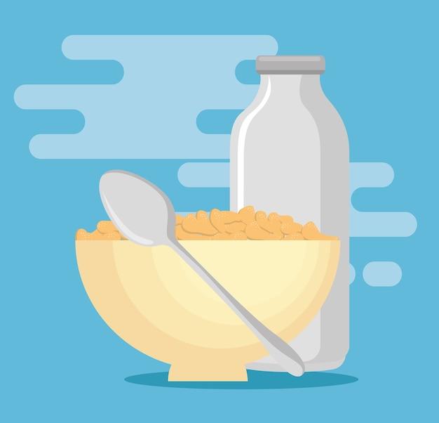 Milch mit gesundem lebensmittelvektorillustrationsdesign des getreidees
