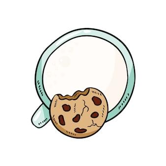 Milch mit keks frühstück süße und nahrhafte mahlzeit. niedliches gemütliches bild der karikaturart