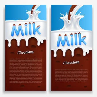 Milch mit schokoladenkunstfahne. vektor-illustration