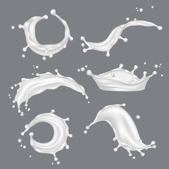 Milch spritzt. frisches futter der weißen tropfenflüssigkeit von der realistischen schablone der kuh
