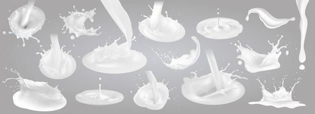 Milch spritzt tropfen und flecken.
