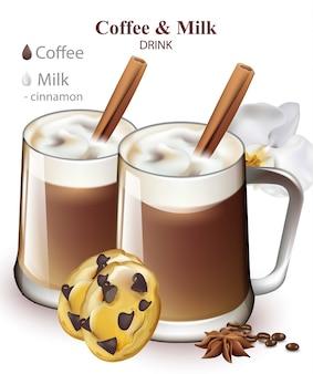 Milch- und kaffeegetränk mit zimtgeschmack. getränkemischung in realistischen gläsern