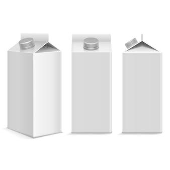 Milch und saft weißer karton paket box
