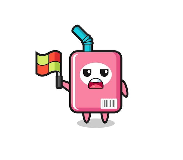 Milchbox-charakter als linienrichter, der die flagge aufstellt, süßes design für t-shirt, aufkleber, logo-element