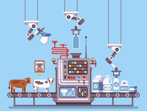 Milcherzeugung, bühnenbearbeitung auf förderband, industriemanagement für milchprodukte