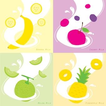 Milchgeschmack banana cherry ananas melone