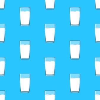 Milchgläser nahtloses muster auf einem blauen hintergrund. illustration zum thema milch
