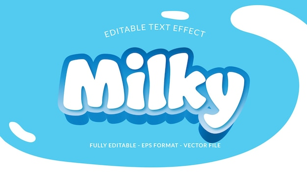 Milchiger bearbeitbarer texteffekt mit milchspritzer