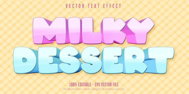 Milchiger desserttext, bearbeitbarer texteffekt im cartoon-stil