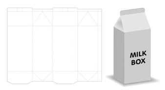 Milchkasten-Schablone 3d Modell mit Dieline