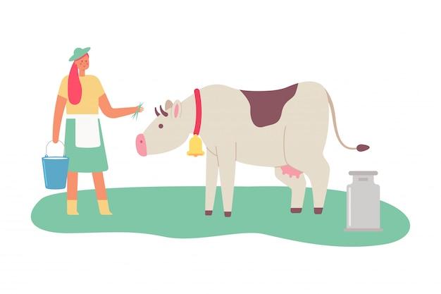 Milchmädchen mit einer kuh und einem eimer milch. karikatur flache illustration einer weiblichen frau lokalisiert auf weißem hintergrund.