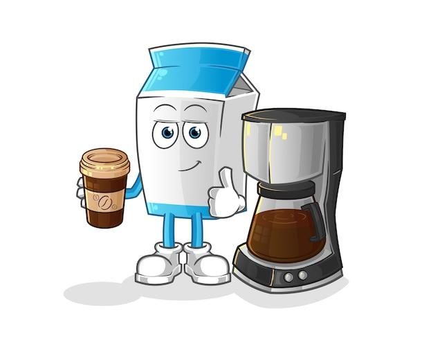Milchpaket, das kaffeekarikaturmaskottchen trinkt