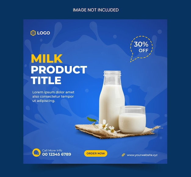 Milchprodukt oder milchfarmprodukte social media post template design oder instagram post banner