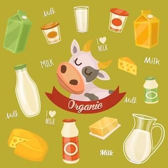 Milchprodukte auf holztisch, milch, ikone