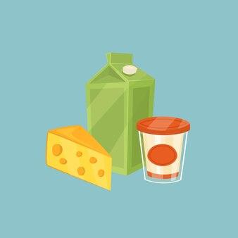 Milchprodukte getrennt auf blau