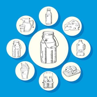 Milchprodukte herum