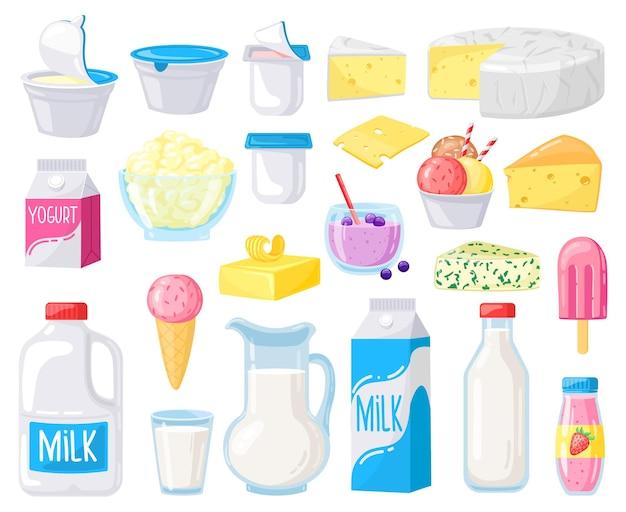 Milchprodukte isoliert auf weiß