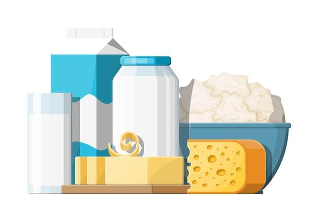 Milchprodukte mit käse besetzt