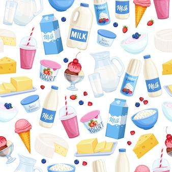 Milchprodukte mit nahtlosem muster.