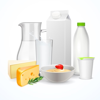 Milchprodukte realistische zusammensetzung